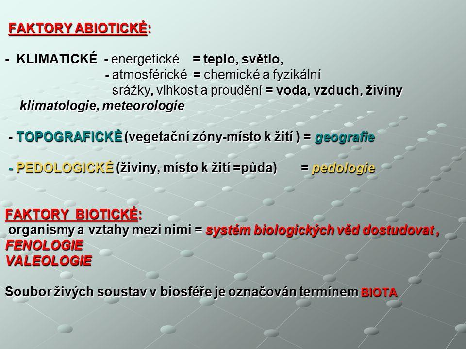 - KLIMATICKÉ - energetické = teplo, světlo,
