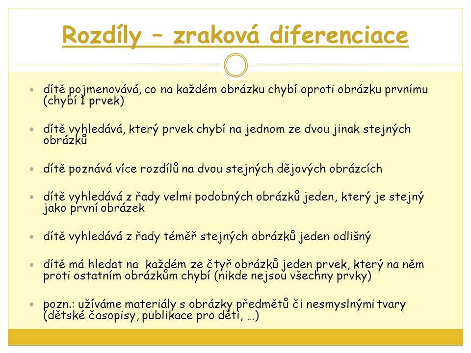 Rozdíly – zraková diferenciace