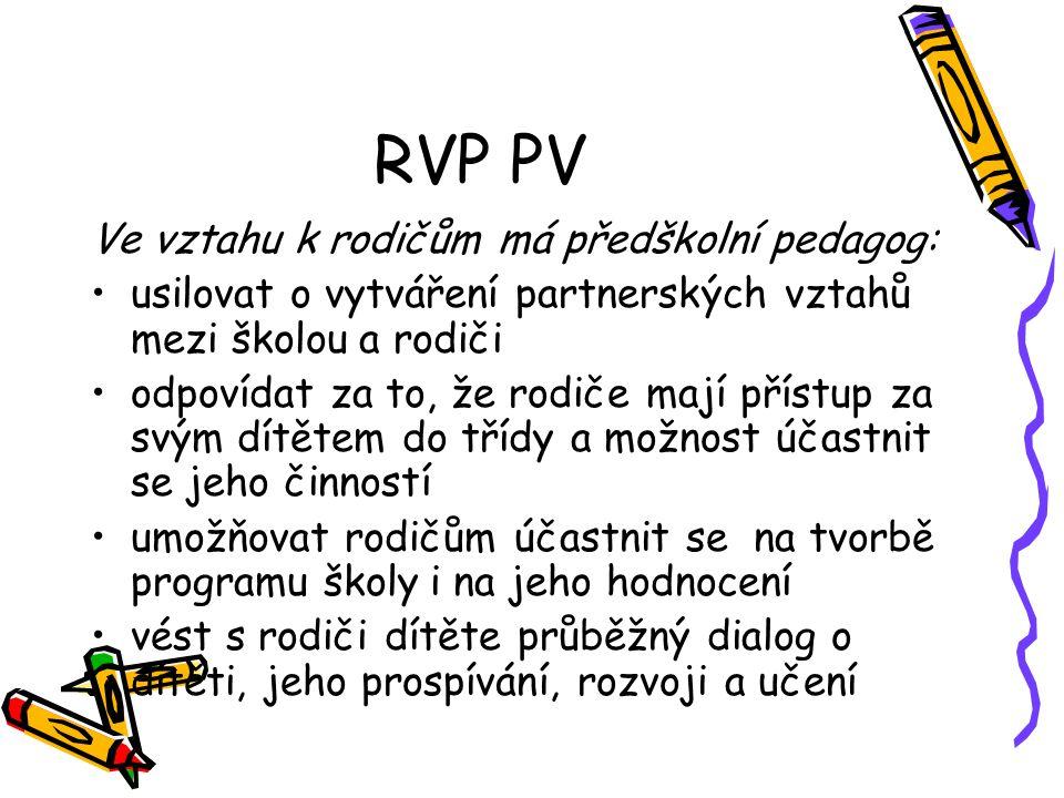 RVP PV Ve vztahu k rodičům má předškolní pedagog:
