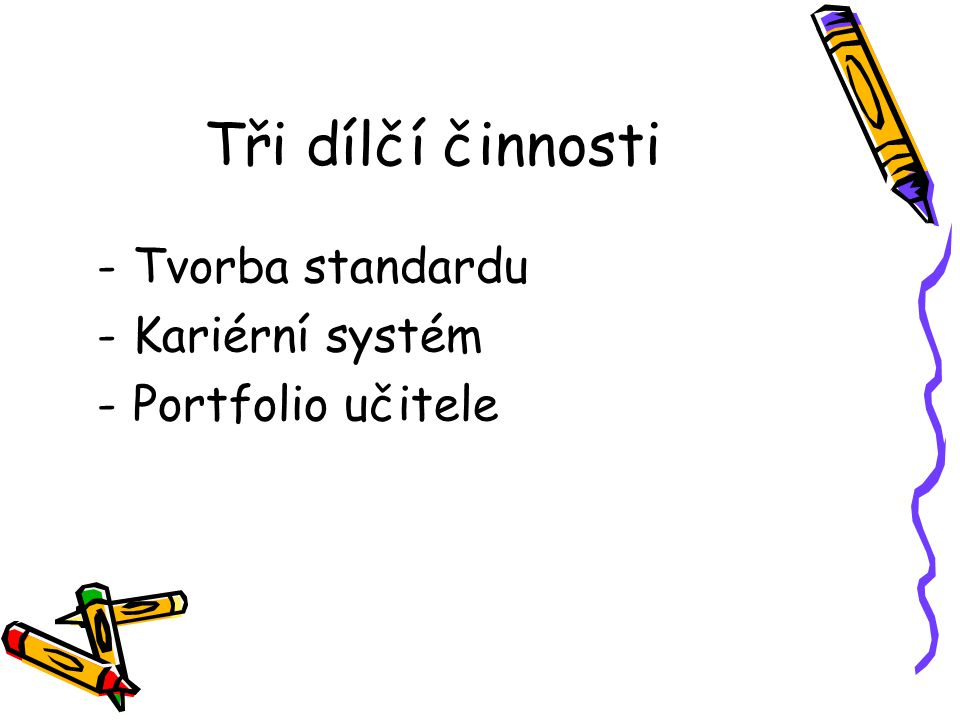 Tři dílčí činnosti Tvorba standardu Kariérní systém Portfolio učitele