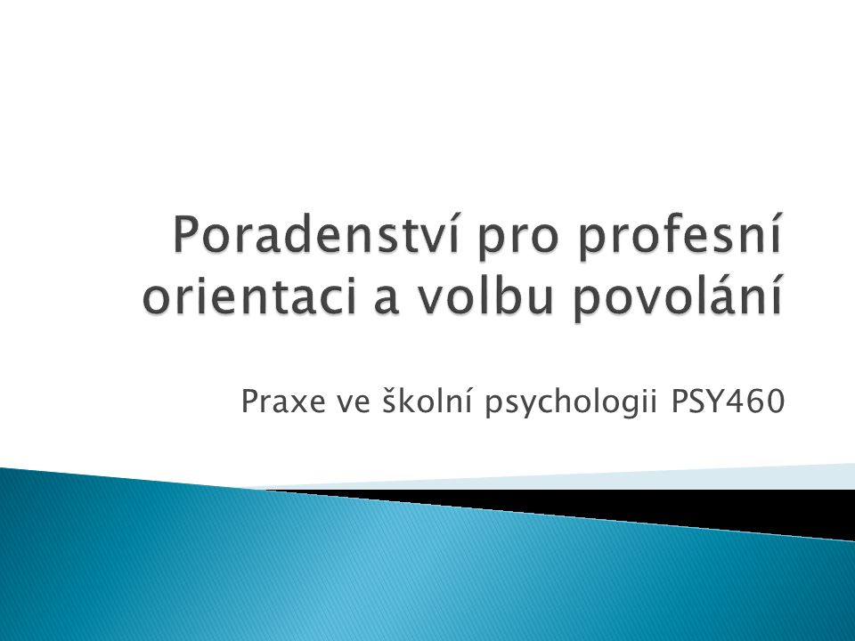 Poradenství pro profesní orientaci a volbu povolání