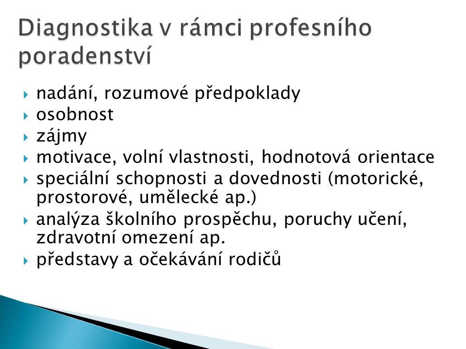 Diagnostika v rámci profesního poradenství