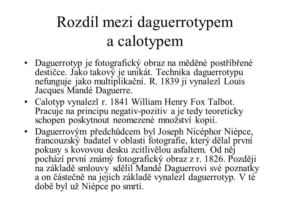 Rozdíl mezi daguerrotypem a calotypem