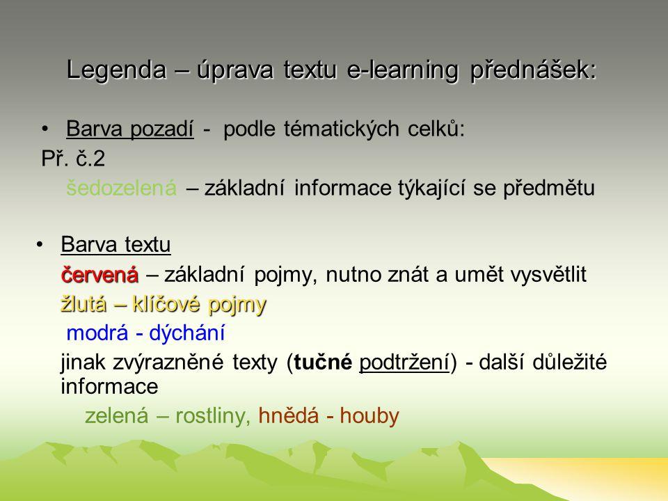 Legenda – úprava textu e-learning přednášek: