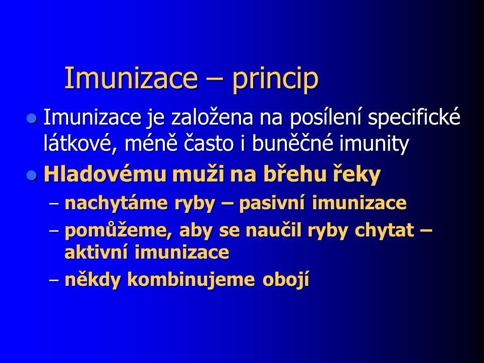 Imunizace – princip Imunizace je založena na posílení specifické látkové, méně často i buněčné imunity.