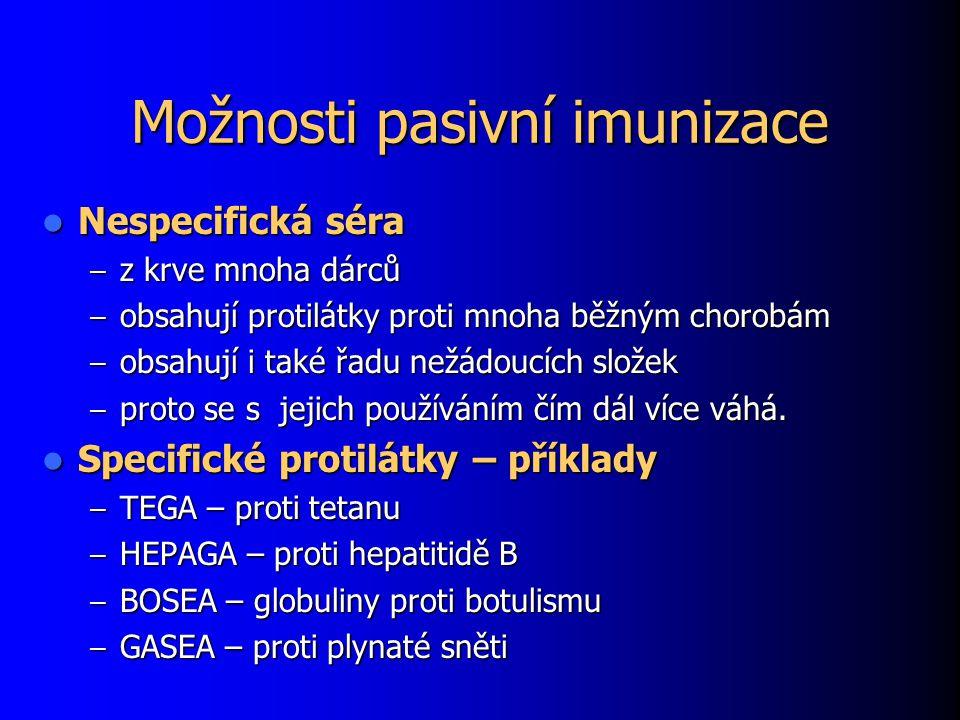 Možnosti pasivní imunizace