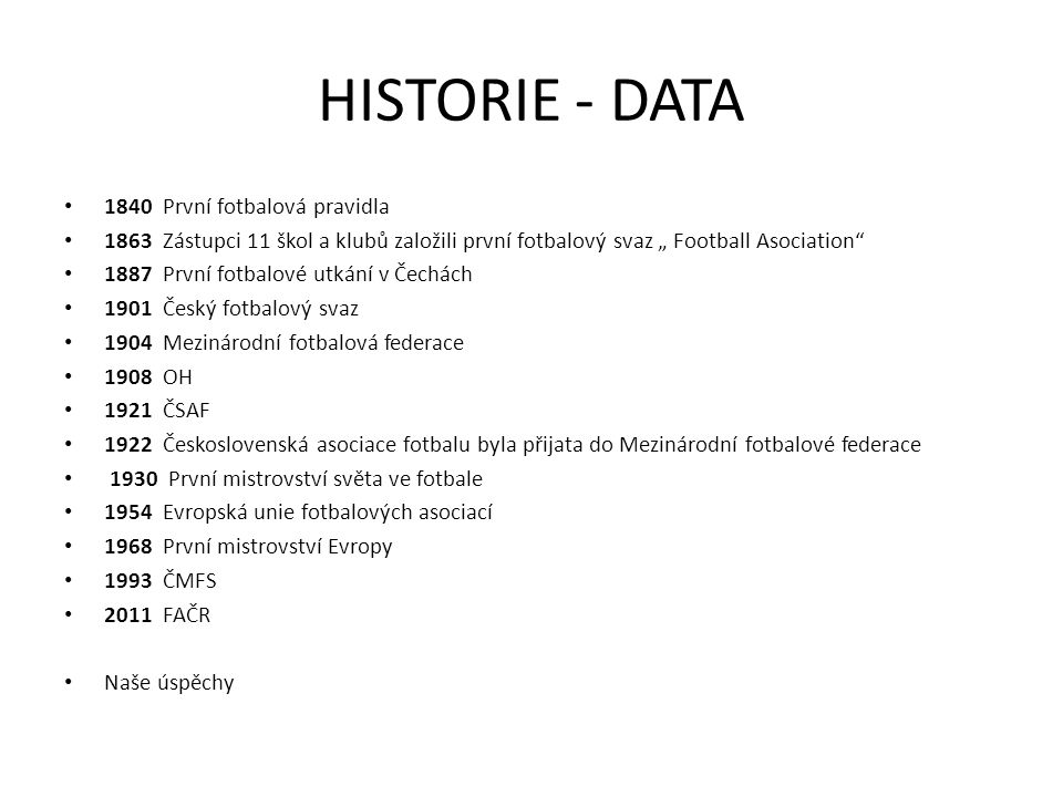 HISTORIE - DATA 1840 První fotbalová pravidla
