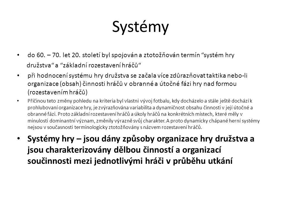 Systémy do 60. – 70. let 20. století byl spojován a ztotožňován termín systém hry. družstva a základní rozestavení hráčů