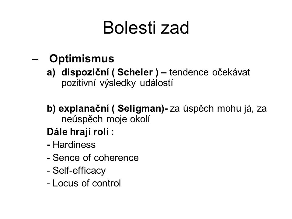 Bolesti zad Optimismus
