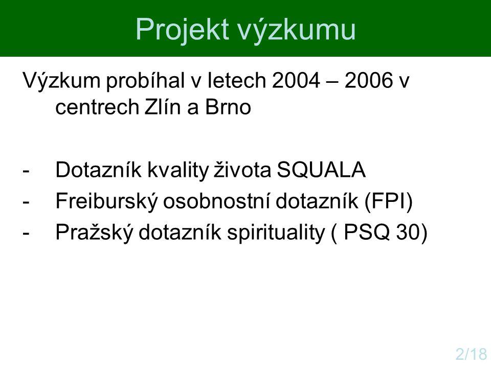 Projekt výzkumu Výzkum probíhal v letech 2004 – 2006 v centrech Zlín a Brno. Dotazník kvality života SQUALA.