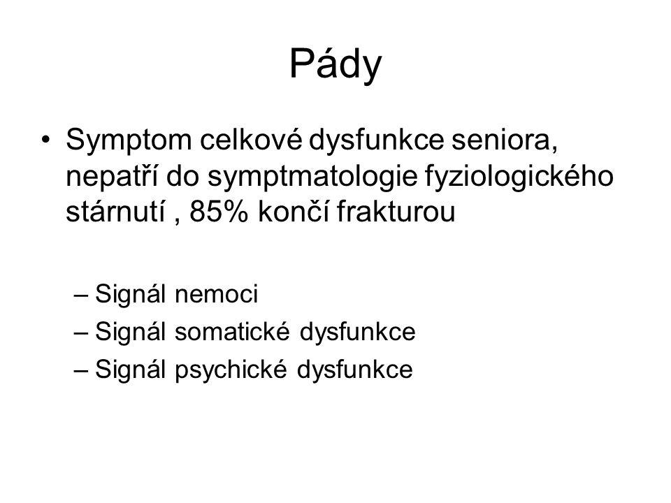 Pády Symptom celkové dysfunkce seniora, nepatří do symptmatologie fyziologického stárnutí , 85% končí frakturou.