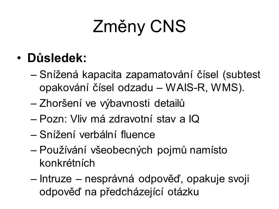 Změny CNS Důsledek: Snížená kapacita zapamatování čísel (subtest opakování čísel odzadu – WAIS-R, WMS).