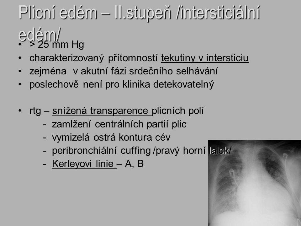 Plicní edém – II.stupeň /intersticiální edém/