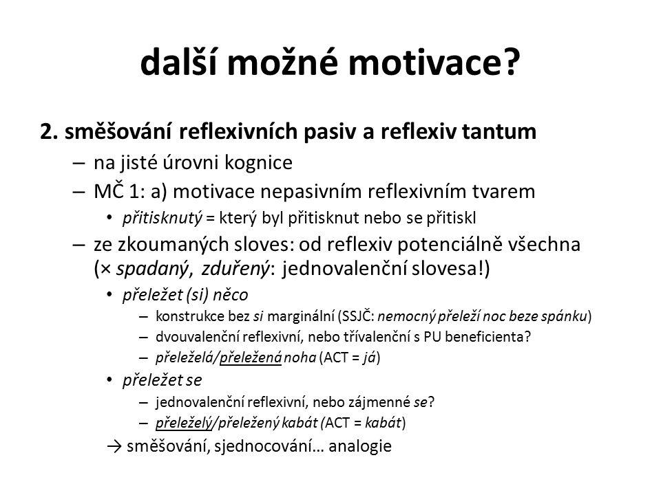 další možné motivace 2. směšování reflexivních pasiv a reflexiv tantum. na jisté úrovni kognice. MČ 1: a) motivace nepasivním reflexivním tvarem.