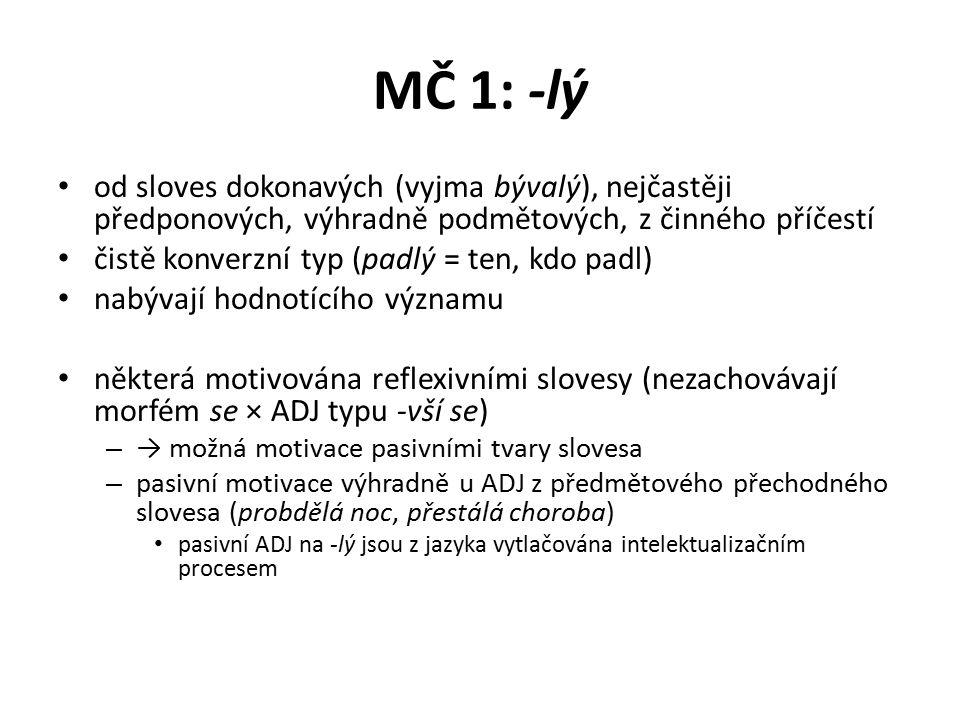 MČ 1: -lý od sloves dokonavých (vyjma bývalý), nejčastěji předponových, výhradně podmětových, z činného příčestí.