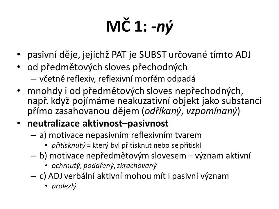 MČ 1: -ný pasivní děje, jejichž PAT je SUBST určované tímto ADJ