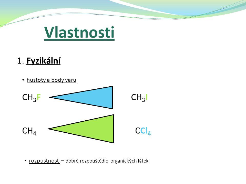 Vlastnosti 1. Fyzikální CH3F CH3I CH4 CCl4 hustoty a body varu
