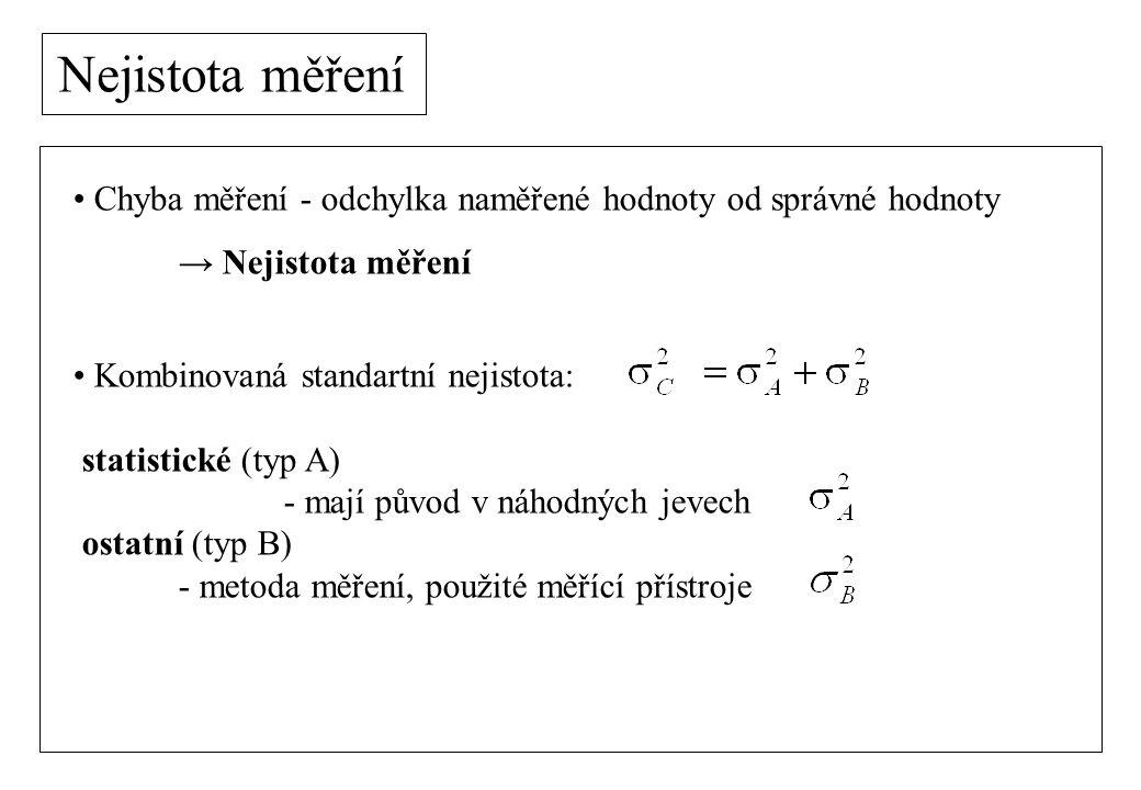 Nejistota měření Chyba měření - odchylka naměřené hodnoty od správné hodnoty. → Nejistota měření. Kombinovaná standartní nejistota:
