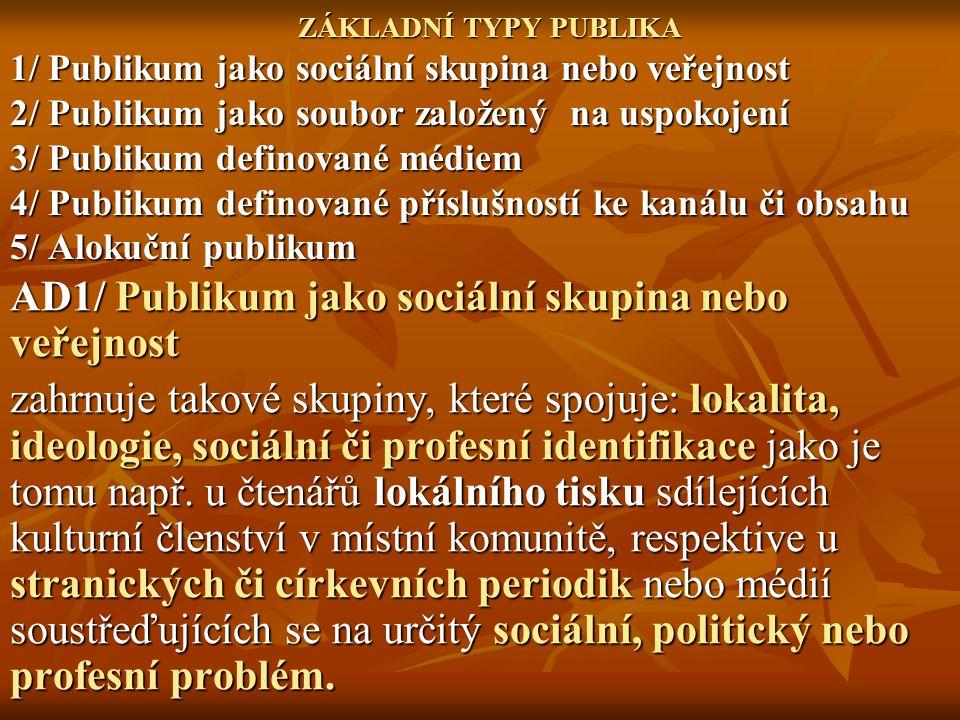 AD1/ Publikum jako sociální skupina nebo veřejnost