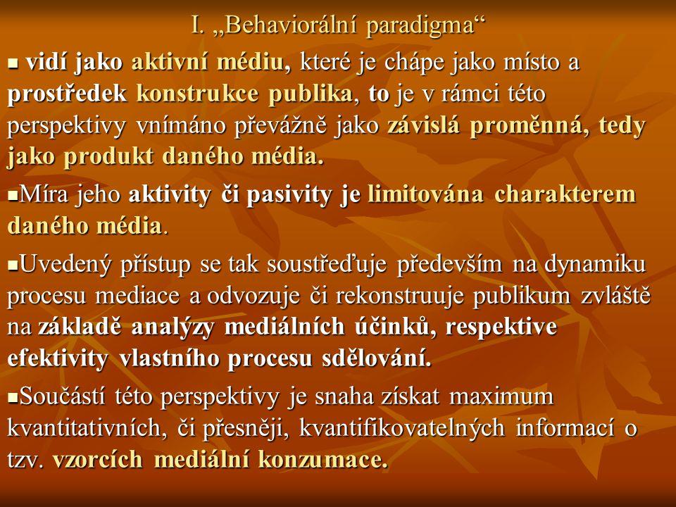 """I. """"Behaviorální paradigma"""