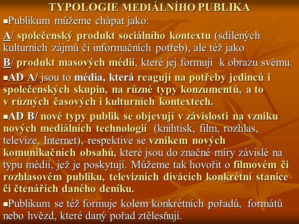 TYPOLOGIE MEDIÁLNÍHO PUBLIKA