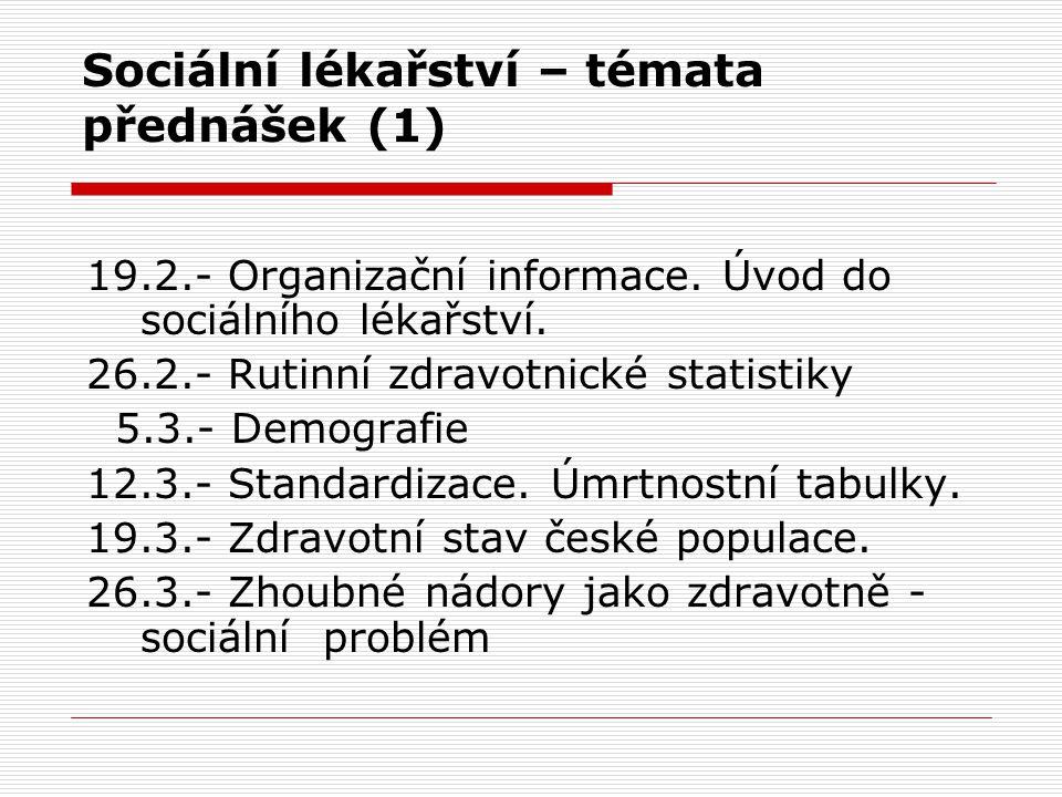 Sociální lékařství – témata přednášek (1)