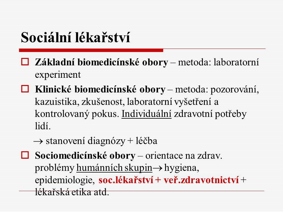 Sociální lékařství Základní biomedicínské obory – metoda: laboratorní experiment.