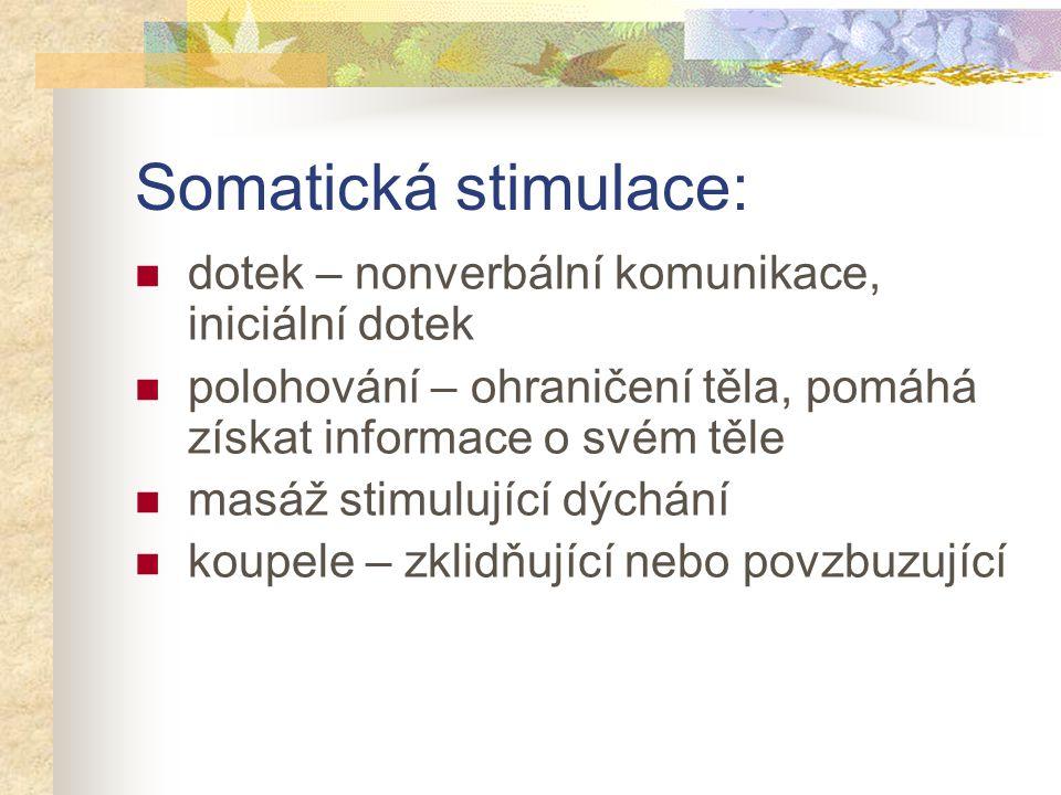 Somatická stimulace: dotek – nonverbální komunikace, iniciální dotek