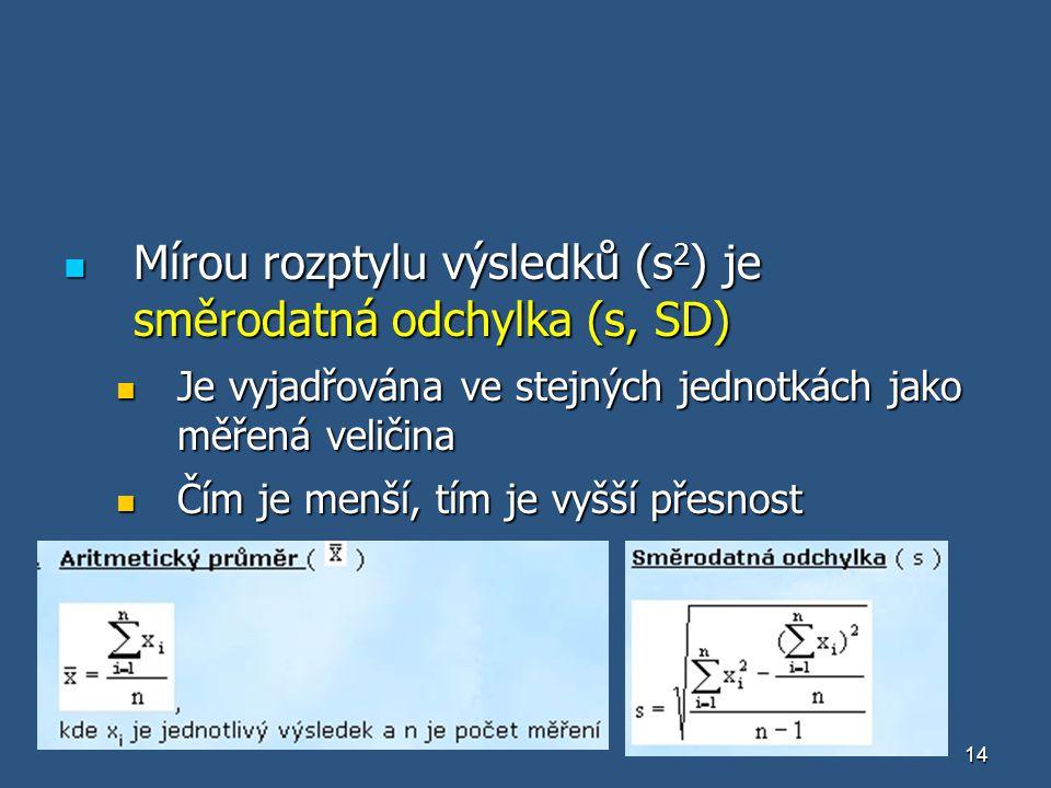 Mírou rozptylu výsledků (s2) je směrodatná odchylka (s, SD)