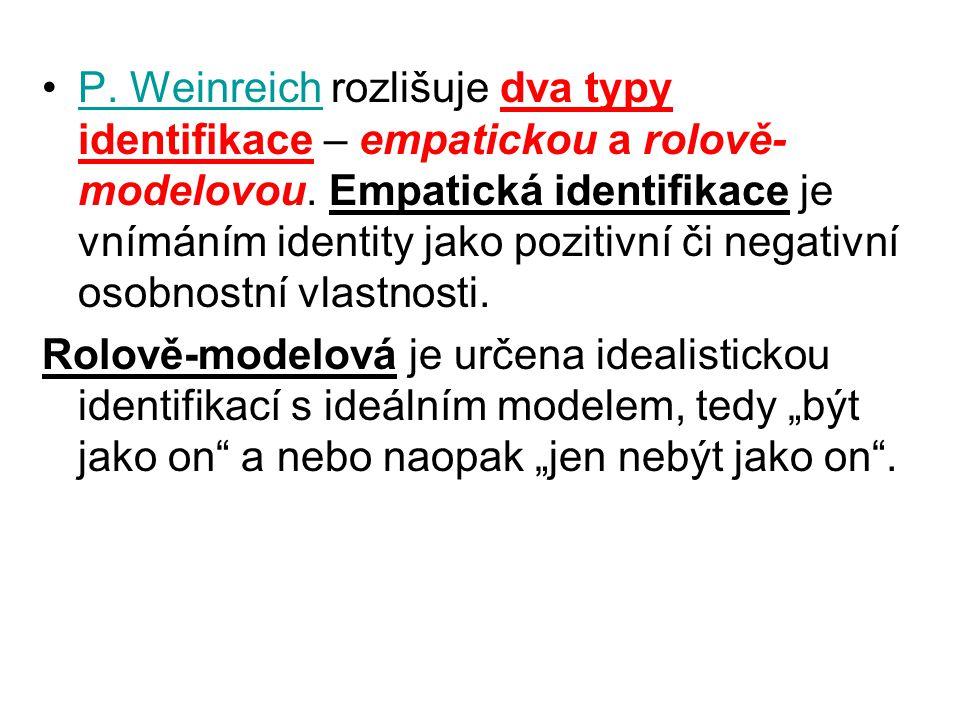 P. Weinreich rozlišuje dva typy identifikace – empatickou a rolově-modelovou. Empatická identifikace je vnímáním identity jako pozitivní či negativní osobnostní vlastnosti.