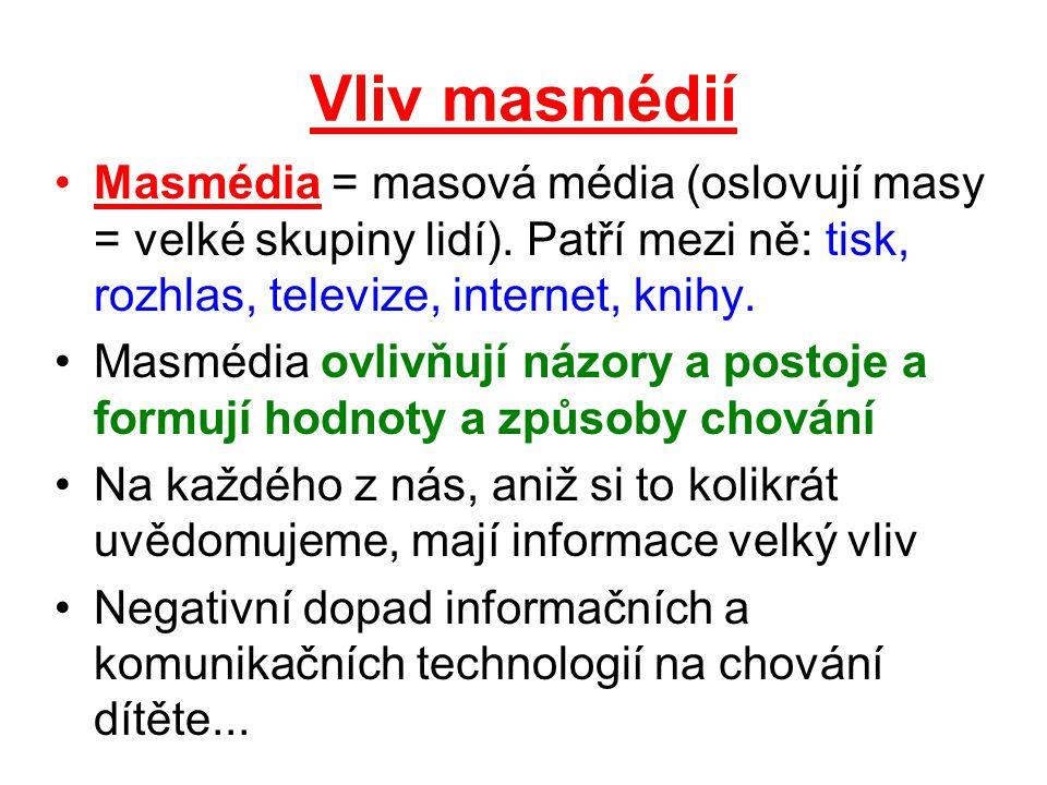 Vliv masmédií Masmédia = masová média (oslovují masy = velké skupiny lidí). Patří mezi ně: tisk, rozhlas, televize, internet, knihy.