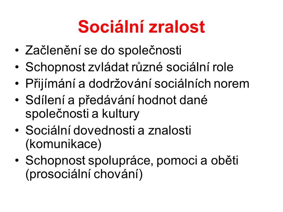 Sociální zralost Začlenění se do společnosti