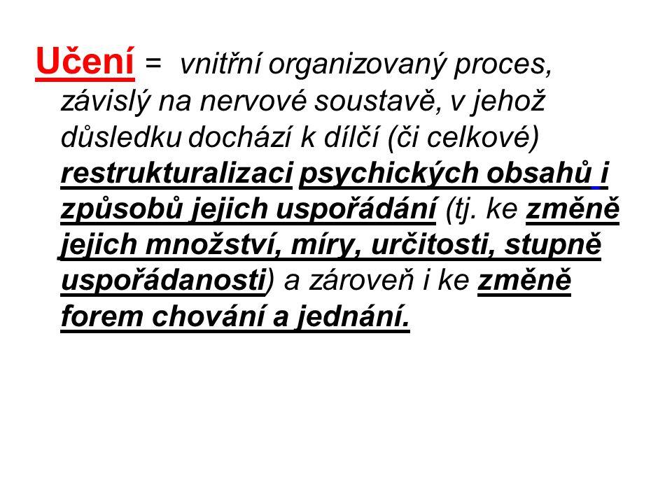 Učení = vnitřní organizovaný proces, závislý na nervové soustavě, v jehož důsledku dochází k dílčí (či celkové) restrukturalizaci psychických obsahů i způsobů jejich uspořádání (tj.