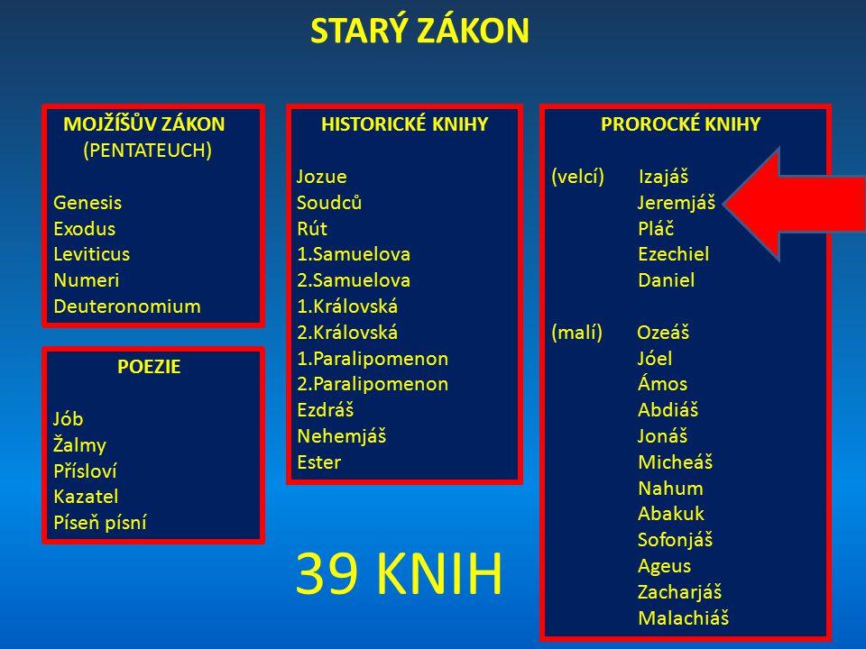 39 KNIH STARÝ ZÁKON MOJŽÍŠŮV ZÁKON (PENTATEUCH) Genesis Exodus
