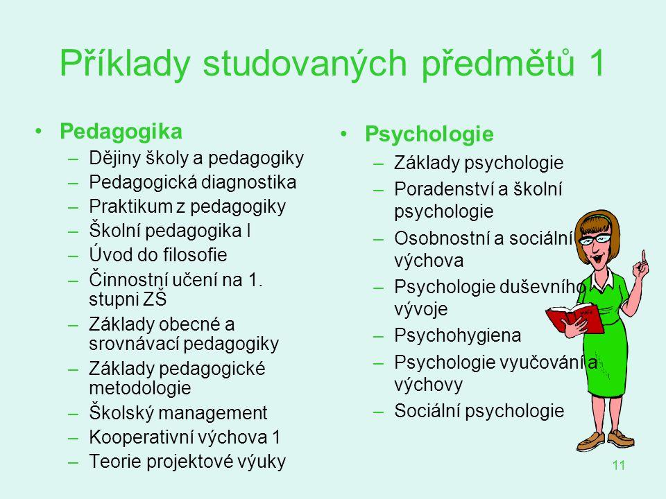 Příklady studovaných předmětů 1