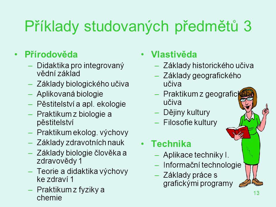 Příklady studovaných předmětů 3
