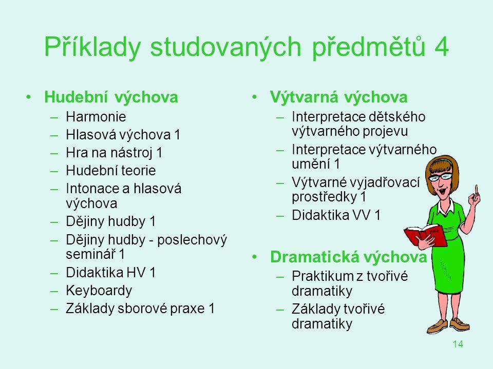 Příklady studovaných předmětů 4