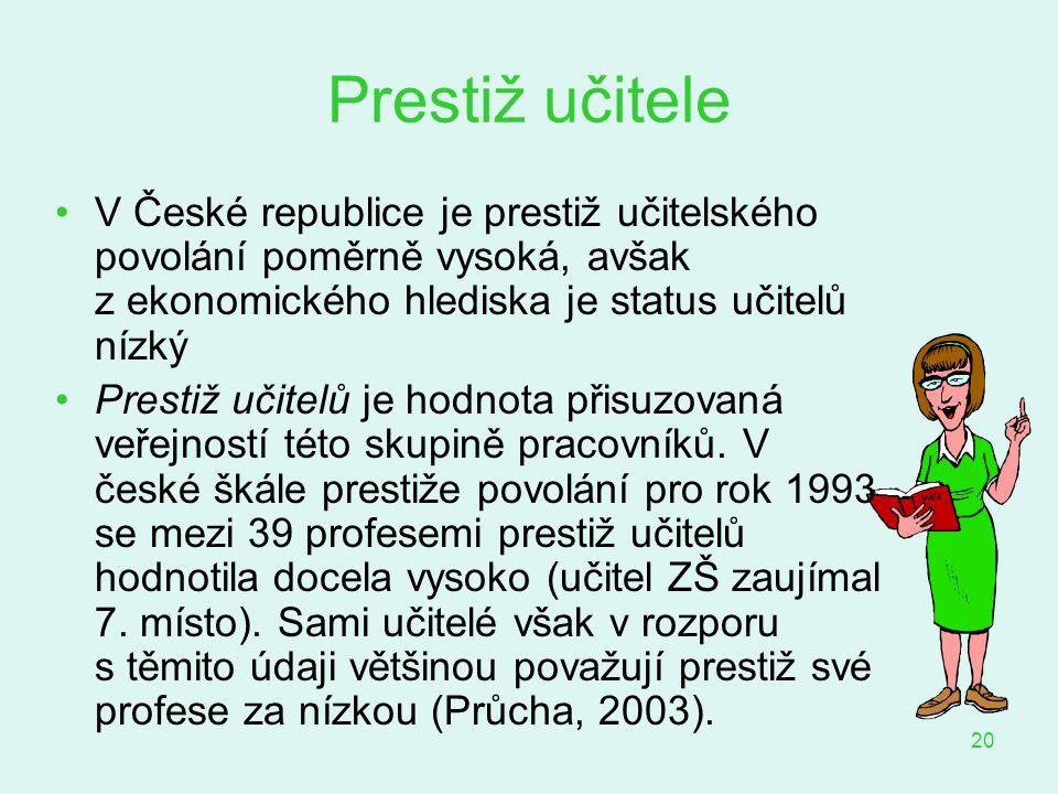 Prestiž učitele V České republice je prestiž učitelského povolání poměrně vysoká, avšak z ekonomického hlediska je status učitelů nízký.