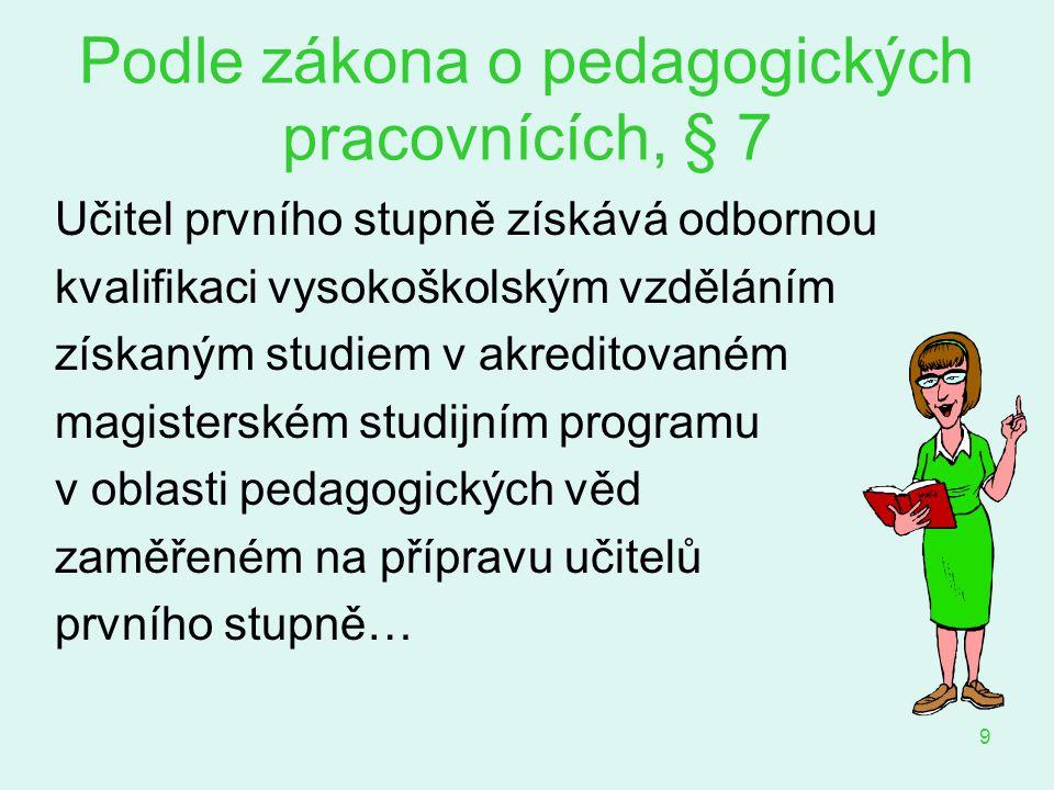 Podle zákona o pedagogických pracovnících, § 7