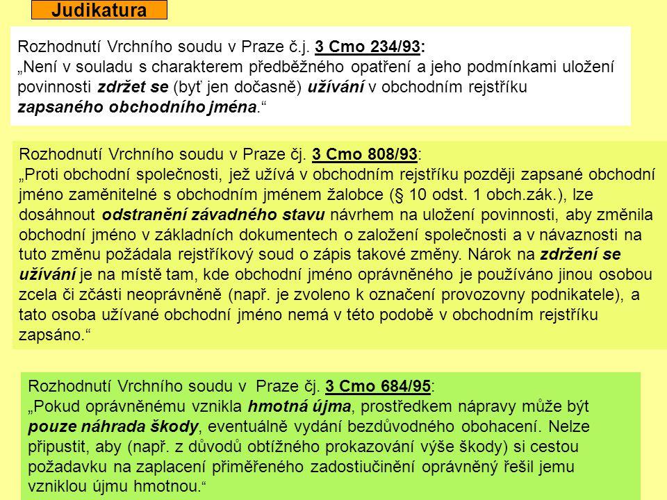 Judikatura Rozhodnutí Vrchního soudu v Praze č.j. 3 Cmo 234/93: