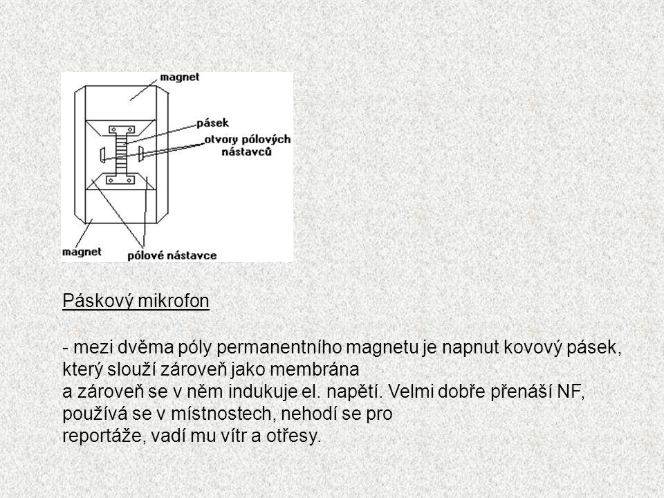 Páskový mikrofon - mezi dvěma póly permanentního magnetu je napnut kovový pásek, který slouží zároveň jako membrána.