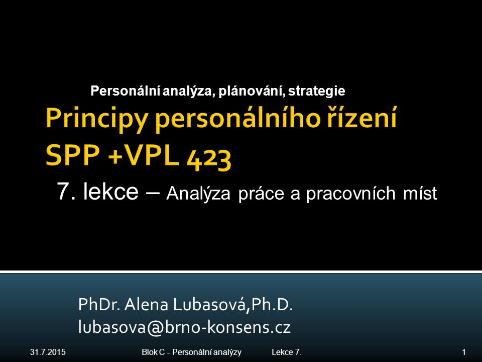 Principy personálního řízení SPP +VPL 423
