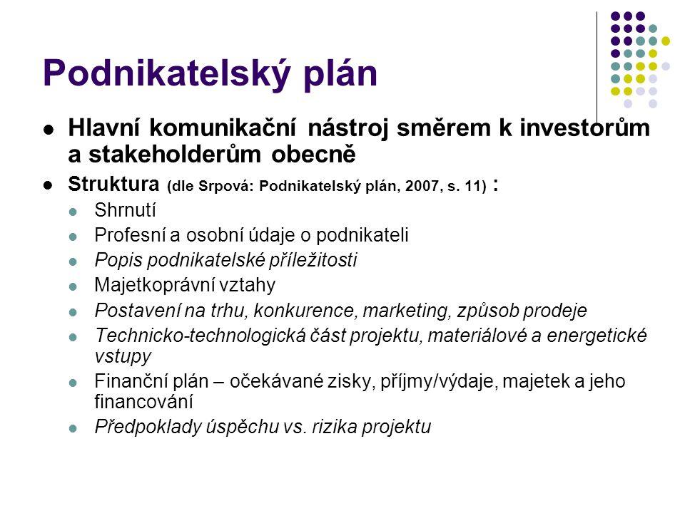 Podnikatelský plán Hlavní komunikační nástroj směrem k investorům a stakeholderům obecně. Struktura (dle Srpová: Podnikatelský plán, 2007, s. 11) :
