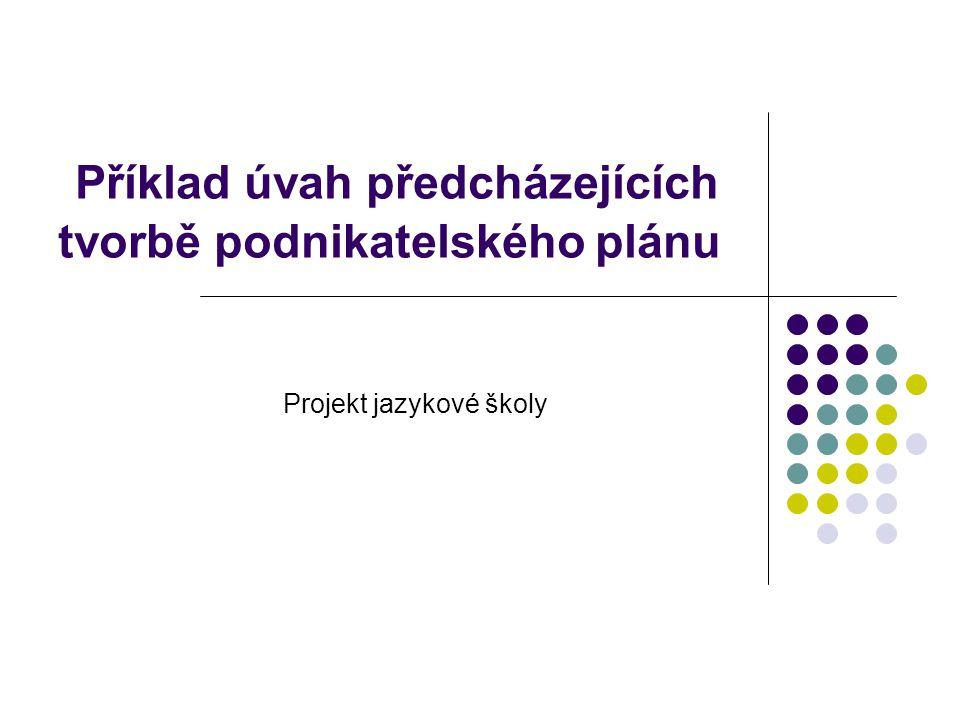 Příklad úvah předcházejících tvorbě podnikatelského plánu