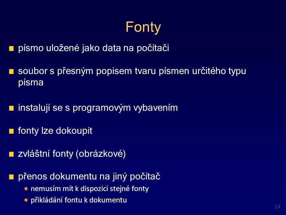 Fonty písmo uložené jako data na počítači