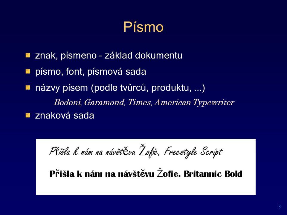 Písmo znak, písmeno – základ dokumentu písmo, font, písmová sada