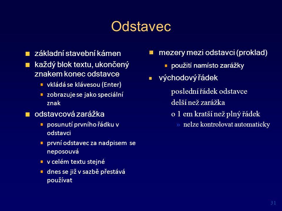 Odstavec základní stavební kámen mezery mezi odstavci (proklad)
