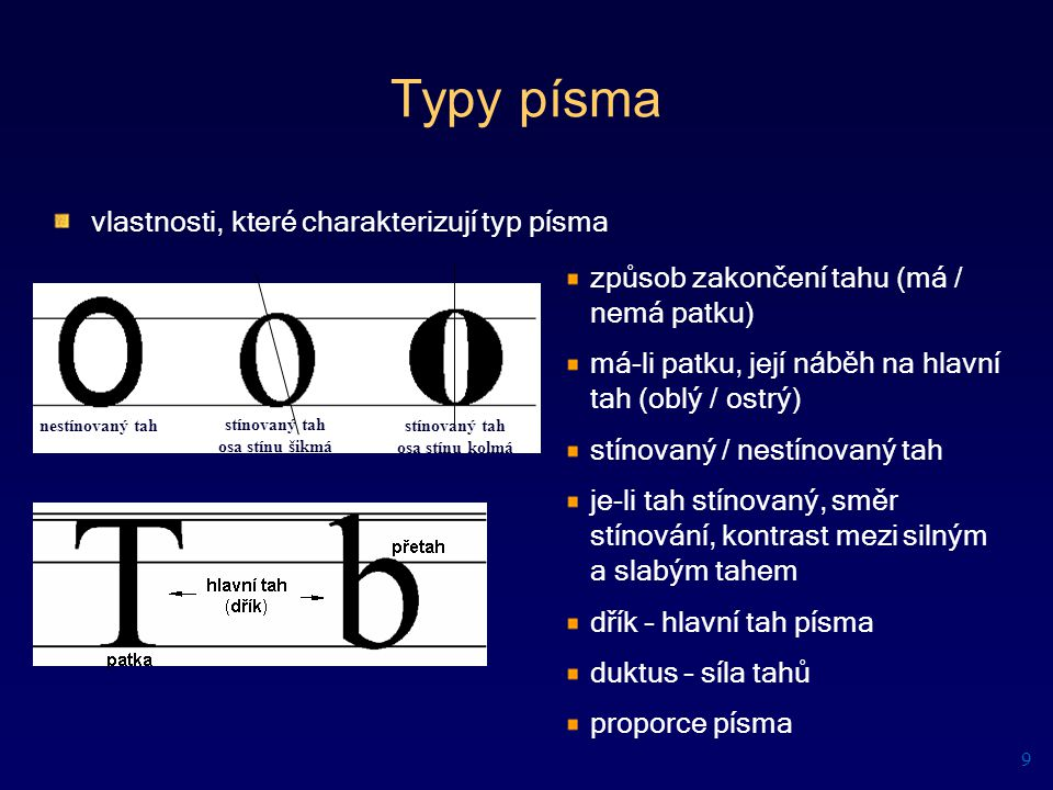 Typy písma vlastnosti, které charakterizují typ písma