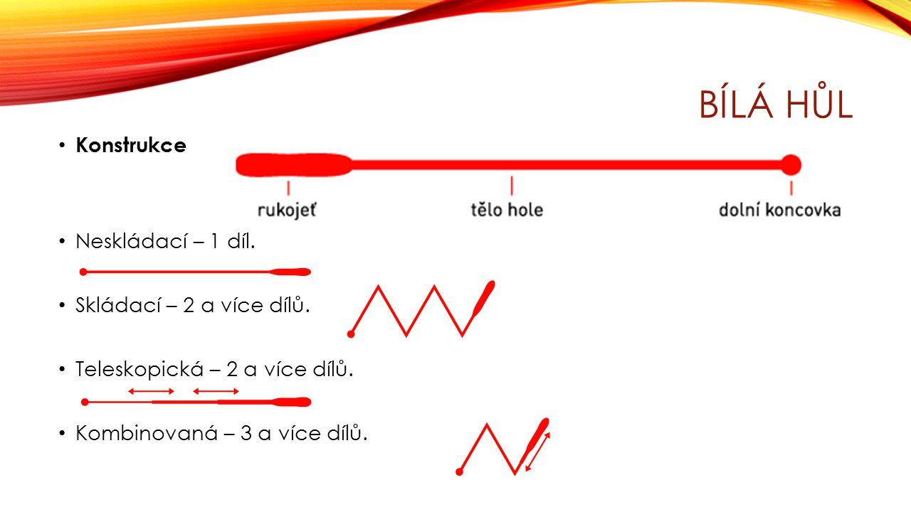 Bílá hůl Konstrukce Neskládací – 1 díl. Skládací – 2 a více dílů.