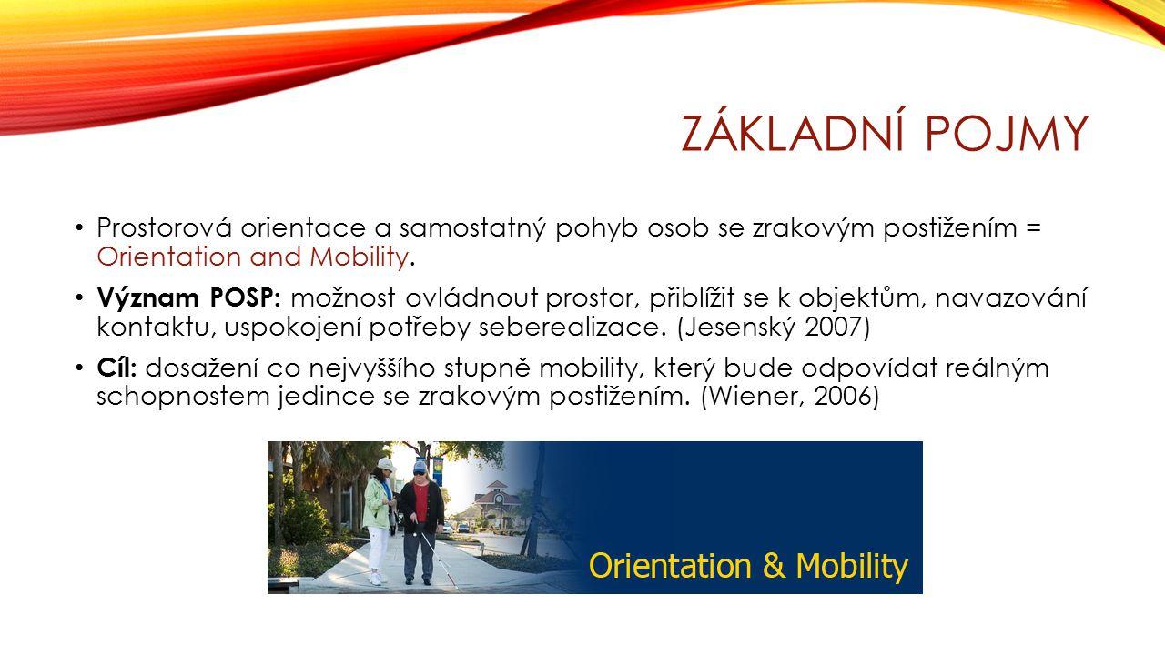 Základní pojmy Prostorová orientace a samostatný pohyb osob se zrakovým postižením = Orientation and Mobility.